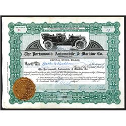 Portsmouth Automobile & Machine Co., Partially Issued Stock Certificate.