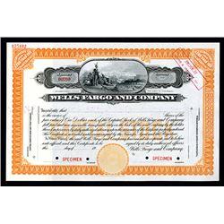 Wells Fargo and Company, ca.1900 Specimen Stock Certificate.
