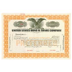 United States Bond & Share Co., 1920-1930 Specimen Stock Certificate