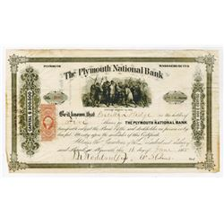 Plymouth National Bank, 1865 Issued Stock Certificate