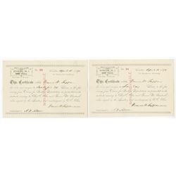 Syndicate No.3, - Claims for Indian Depredation - Pair of Issued 1891 Claims Certificates