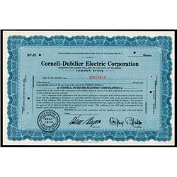 Cornell-Dubilier Electric Corp. 1936 Specimen Stock.