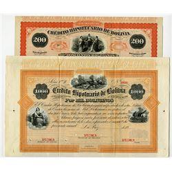 Credito Hipotecario De Bolivia ca.1870-1910 Specimen Bond Pair.