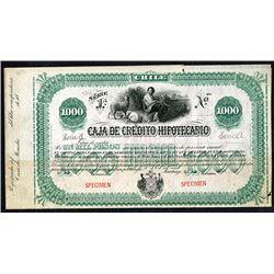 Caja de Credito Hipotecario ca.1890 Specimen Bond
