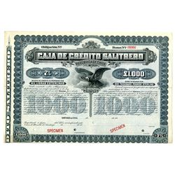 Caja de Credito Salitrero, ca.1900-1920 Specimen Bond