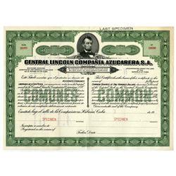 Central Lincoln Compania Azucarera S.A. Specimen 1900-1920 Stock Certificate.