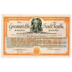 Government of the French Republic, 1917 Specimen Bond.