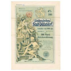 Schuldverschreibung der Stadt-DÙsseldorf, 1908 Issued Bond