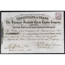 Hornsey Freehold Estate Tontine Co. Ltd. Issued Stock.