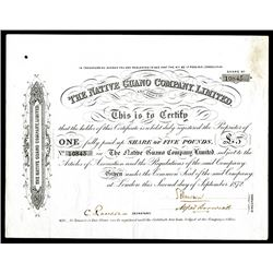 Native Guano Co. Ltd., 1872 Issued Share Certificate.