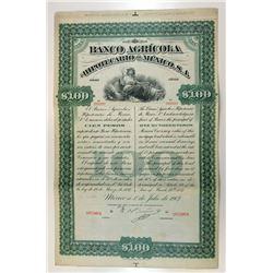 Banco Agricola e Hipotecario de Mexico, S.A., 1907 Specimen Bond