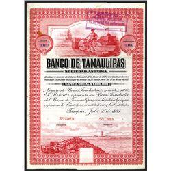 Banco De Tamaulipas S. A. 1905 Specimen Bond.