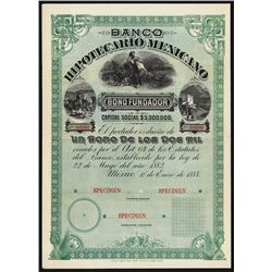 Banco Hipotecario Mexicano Specimen Bond.