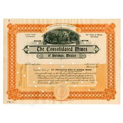 Consolidated Mines of Durango, Mexico, 1907 Specimen Stock Certificate.