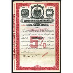 Estados Unidos Mexicanos Deuda Publica Agraria 1920 Specimen Bond.