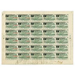 Ferrocarriles Nacionales de Mexico, 1925 Specimen Coupon Sheet.