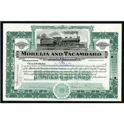 Mexico. Morelia and Tacambaro Railway Co., 1907 Stock Certificate.