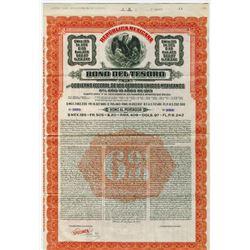 "Republica Mexicana, Bono Del Tesoro, 1913 Series ""D"" Specimen Bond."