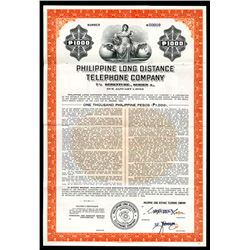 Philippine Long Distance Telephone Co. 1958. Specimen Bond.