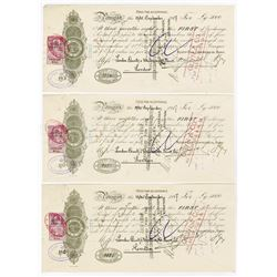 Azoff-Don Commercial Bank. 1917. Trio of Cancelled 5000 Pound Sterling 1st of Exchange Certificates.