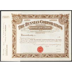 Russian Corporation Ltd. 1900-1910 Specimen Share Certificate.