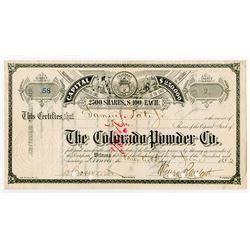 Colorado Powder Co., 1882 Stock Certificate
