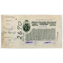 Atlas Powder Company 1925 Proof Stock Certificate.