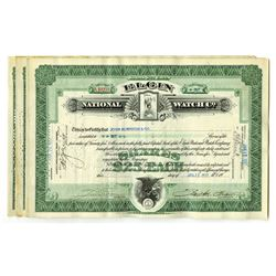 Elgin National Watch Co. 1926-1928. Group of 19 Stock Certificates.