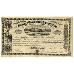 Oswego River Starch Co. 1856 Stock Certificate.