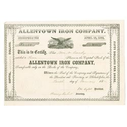 Allentown Iron Co., 1874 Issued Stock Certificate