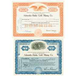 Admiralty-Alaska Gold Mining Co., 1937-1970 Pair of Issued Stock Certificates