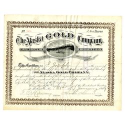 Alaska Gold Company, January 28th, 1889 Stock Certificate, One of the Earliest Alaska Mining Certifi