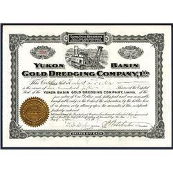Yukon Basin Gold Dredging Company, Ltd. 1909 Stock Certificate.