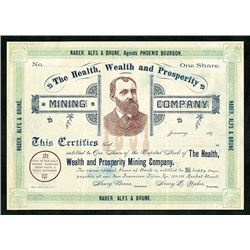Health, Wealth and Prosperity Mining Co., ca.1890's Good Luck Certificate from Phoenix Bourbon.