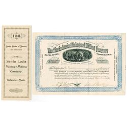 Santa Lucia Mining and Milling Co. 1894 Issued Stock and Bond Certificates