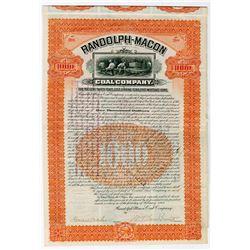Randolph-Macon Coal Co., 1905 $1000 Issued Bond.
