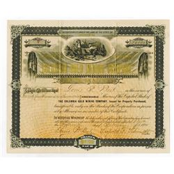 Columbia Gold Mining Co., 1895 Issued Stock Certificate