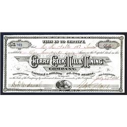Cherry Creek Mill & Mining Company, 1874 Stock Certificate.