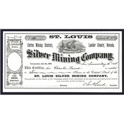St. Louis Silver Mining Company, 1868 Partially Issued Stock Certificate.