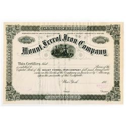 Mount Ferrol Iron Co. 1880's Specimen Stock Certificate.