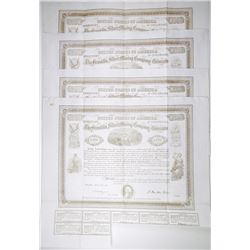 Franklin Silver Mining Co. of Colorado., 1869 Quartet of Issued Stock Certificates