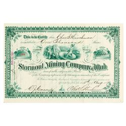 Stormont Mining Co. of Utah, 1887 Issued Stock Certificate