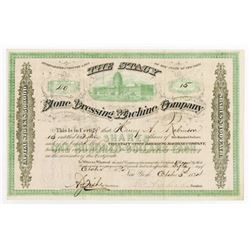 Stone Dressing Machine Co., 1874 Issued Stock Certificate