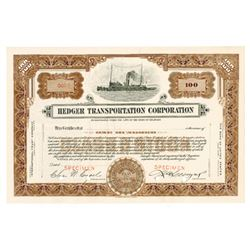 Hedger Transportation corp., 1930-1940 Specimen Stock Certificate