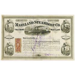 Maryland Steamboat Co., 1869 Stock Certificate