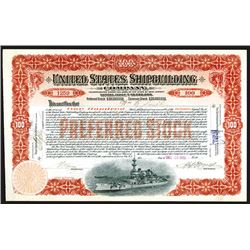 United States Shipbuilding Co., 1902 Issued Stock Certificate.