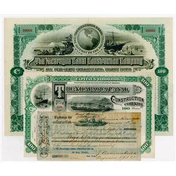 Nicaragua Canal Construction Co., 1890 to 1892 Historic Specimen & Issued Stock, Bond & Bill of Exch