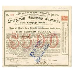 Narragansett Steamship Co., 1869 Issued Bond Signed by Civil War General Ambrose Burnside as Preside