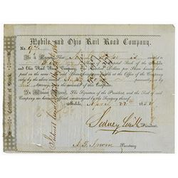 Mobile & Ohio Rail Road Co., 1852 Cancelled Stock Certificate
