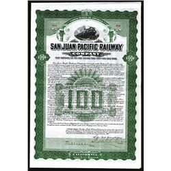 San Juan Pacific Railway Co., 1908 1st Mortgage 6% Gold Coupon Bond.